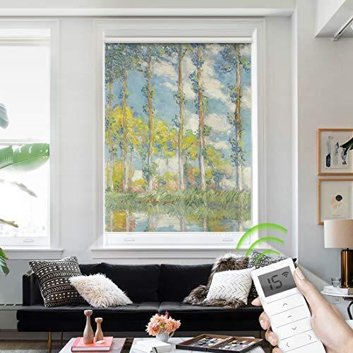 Yoolax Motorized Blackout Window Shades Painting Design Free-Stop Wireless Rechargeable Window Blinds Customize Size Shades (Poplar Tree)