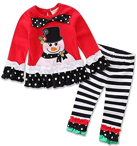 [Carcarely New Year Christmas Costumes Girls Long Sleeve Clothes Set Cute Santa Claus Snowman Christmas Tree Elk Pattern Shirt + Pants] (Childrens Santa Costume Pattern)