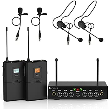 fifine 20 channel uhf wireless lavalier lapel microphone system with bodypack. Black Bedroom Furniture Sets. Home Design Ideas
