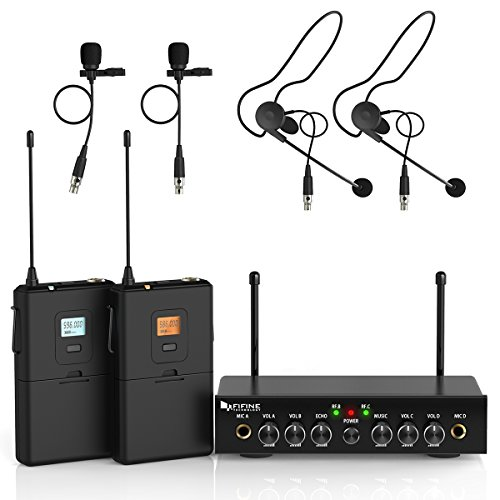 Channel Microphone Lapel Wireless Uhf (Wireless Microphone System,Fifine UHF Dual Channel Wireless Microphone Set with 2 Headsets & 2 Lapel Lavalier Microphone.Ideal for Church, Weddings,Presentations,School Play.(K038))
