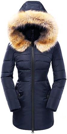 fedfd7d894f valuker Women's Down Coat with Fur Hood 90D Parka Puffer Jacket 57-Navy-XS