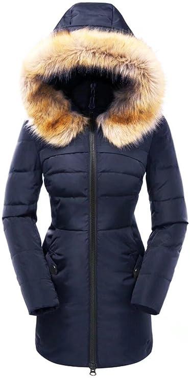 Beinia Valuker Women's Down Coat with Fur Hood 90D Parka Puffer Jacket 57-Navy-XL