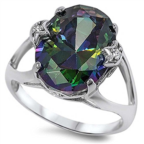 LARGE Royal Vintage French Prong .925 Sterling Silver Simulated Fire Rainbow Topaz (Topaz Platinum Bands)