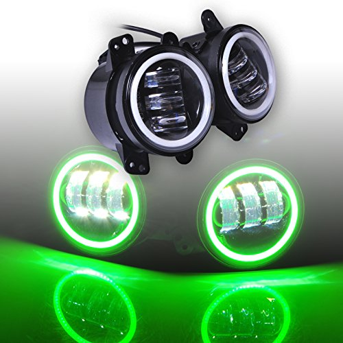 Ohmu Pair 4 Inch Round 60W Cree LED Fog Light White Lamp DRL & Green Halo Bulb Angle Eyes for Jeep Wrangler JK TJ LJ Headlight Trackor Auto Driving Accessoires (Green)