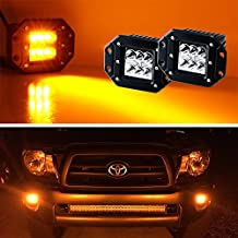 iJDMTOY (2) Amber Yellow Dually Flush Mount 24W CREE LED Pod Lights For Truck Jeep Off-Road ATV 4WD 4x4, etc
