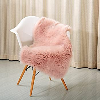 Reafort High Pile Super Soft Faux Sheepskin Rug, Faux Fur Rug, Area Rug,  Chair Cover, Sofa Cover 20inx36in (Pink)