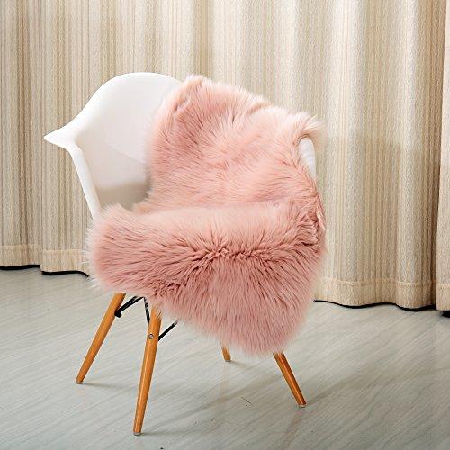(Reafort High Pile Super Soft Faux Sheepskin Rug, Chair Cover, Sofa Cover 20inx36in (20