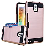 Galaxy Note 3 Case, Jwest Hybrid Armor Galaxy Note 3 Wallet Case Protective Shell Hard PC Case + Soft TPU Bumper Cover with Card Holder Slot for Samsung Galaxy Note 3 (Rose Gold)