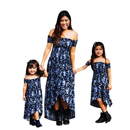 Kehen Mom&Me Family Matching Clothes Strap Off Shoudler Hi-Low Long Dress Holiday Party Dresses Slim Dress Outfit(Mom,Large
