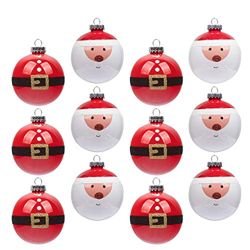KI Store Red and White Christmas Balls Ornament 12ct Shatterproof 3.15-Inch Tree Ball Cute Santa Hand Painting Decorations for Xmas Trees, Parties, and Holiday (Ornaments Glass Claus Santa)