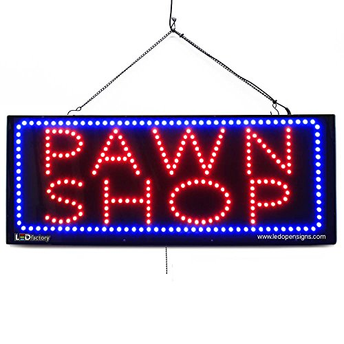 Large LED Window Open Sign - Pawn Shop - Extra Bright, Can be seen Through Tinted Windows - 32 inches Wide - ON/Off / Flashing Mode (#2617)