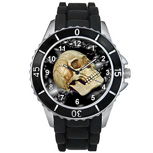 BMSC178 Skull Bone Halloween Mens Ladies Black Jelly Silicone Strap Wrist Watch