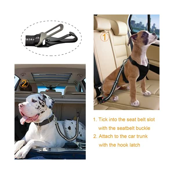 51OsPL7VaMS Hunde Sicherheitsgurt, Universeller Sicherheitsgeschirr für Hunde mit Verbessertem Karabiner, Verstellbarer Kabelbaum…