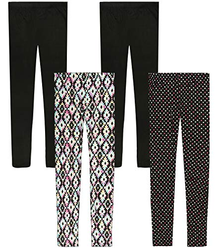 Only Girls Butter-Soft-Touch Printed Yummy Leggings (4-Pack) (Aztec/Polka Dots, 14)'