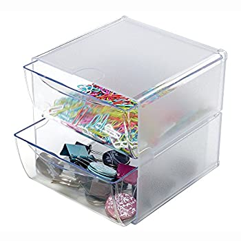 Deflecto Stackable Cube Organizer, 2 Drawers, Clear (350101)