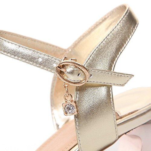 Allhqfashion Gonnellino Da Donna Morbido Materiale Solido Fibbia Open Toe Sandali Oro