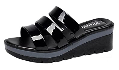 d4c77175a94 SHOWHOW Women s Stylish Strappy Open Toe Strap Slide On Mid Wedge Heel  Platform Sandals Shoes Black