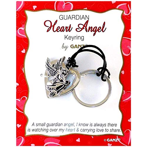White Brass Key Ring - 3D Guardian Angel Charm with Genuine Leather Tether.