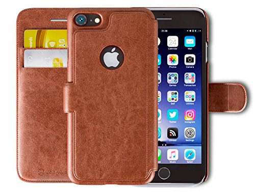 Lockwood iPhone SE/5s | Folio Wallet Case | Bonus HD Screen Protector | RFID Card Protection | Splash Proof Faux Leather | Vintage Brown | (4 Inch) | Ultra Slim & Light