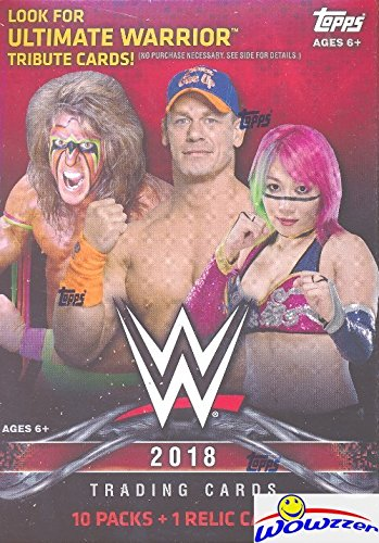 2018 Topps WWE Wrestling EXCLUSIVE Factory Sealed Retail Box with RELIC Card! Look for Cards & Autographs of WWE Superstars The Undertaker, Triple H, Jon Cena, Stephanie McMahon & Many More! WOWZZER! (Wrestling Cards)