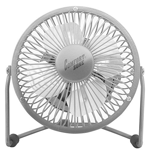 (Comfort Zone 360-Degree Adjustable Tilt 4-Inch Cradle High Velocity Dual Powered Fan in Chrome (Chrome) )