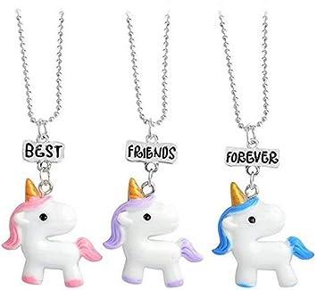 Amazon Com Cardeon Best Friends Forever Unicorn Necklace Set For 3 Packs Girls Kids Cartoon Friendship Pendant Women Home Improvement