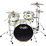 Crush Drums & Percussion S3M428-607 4-Piece Drum Shell Pack, White/Lime Stripe Sparkle