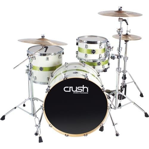 Crush Drums & Percussion S3M428-607 4-Piece Drum Shell Pack, White/Lime Stripe Sparkle by Crush Drums & Percussion