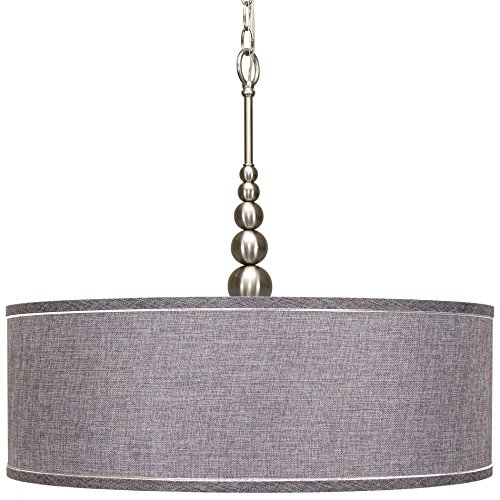 Revel Adelade 22″ Modern Brushed Nickel Chandelier w/ Grey Fabric Drum Shade and Tempered Glass Diffuser