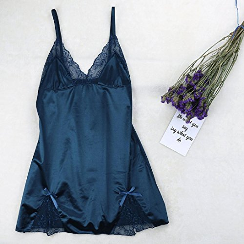 iLH Lightning Deals Bowknot Sleepwear and G-String,ZYooh Sexy Lingerie Babydoll Nighties Plus Size for Women (Blue, M) ()