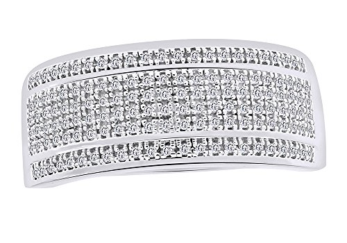 - Mothers Day Jewelry Gifts Wedding Bands 10K Gold Five Row Natural 0.4 Cttw Diamond Ring For Men