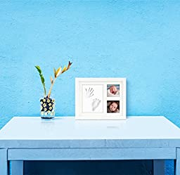 HuGreat Baby Handprint,Footprint wooden frame-FREE TABLE/WALL ORNAMENT KIT-Photo keepsake-Stepping stone for priceless memory-100% Baby safe clay-Safe Acrylic Glass frame,Durable-Best baby shower gift