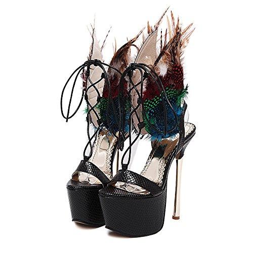 yBeauty Women's Stiletto Heels Platform Sandals Lace Up Colorful Feather Gladiator Cross Strap Sandals Black US6.5