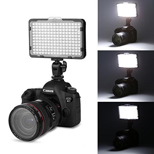CRAPHY 176 LED Dimmable Ultra High Power Panel Digital Camera Camcorder Video Light for Canon, Nikon, Pentax, Panasonic, SONY, Samsung and Olympus Digital SLR (Lights Camera Led)