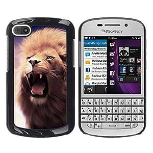 Smartphone Rígido Protección única Imagen Carcasa Funda Tapa Skin Case Para BlackBerry Q10 Lion Roar Fangs Teeth Mane Purple Yawn / STRONG
