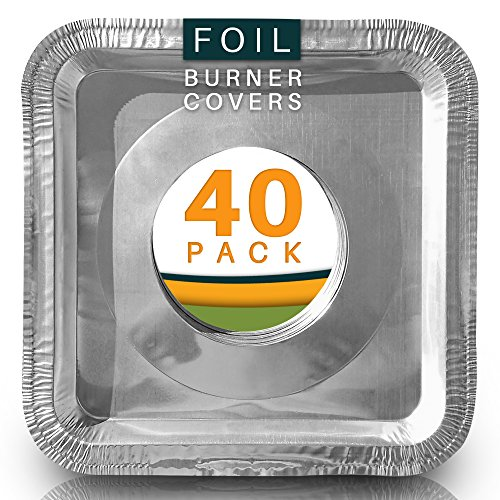 Best Stove Bib Liners (Pack of 40) Disposable Aluminum Foil Burner Covers for Gas Top. Gas Stove Drip Pans 8.5 x 8.5 x .5 Square.