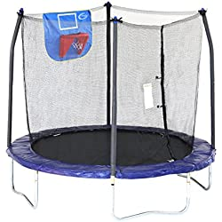 Skywalker Trampolines Jump N' Dunk Trampoline with Safety Enclosure and Basketball Hoop, Blue, 8-Feet