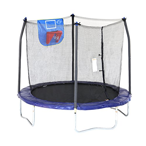 Skywalker Trampolines Jump N' Dunk Trampoline with Safety Enclosure and Basketball Hoop, Blue, 8-Feet (Best Dunks On A Trampoline)