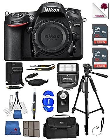 Nikon D7200 (Body Only) 24.2 MP DX Format Black DSLR Camera - 1554 (USA) - Full Accessory Bundle Package Deal (18 (Nikon D7200 Body)