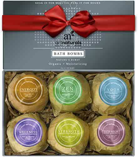 Art Naturals Bath Bombs Gift Set - 6 X 4.1 Oz Ultra Lush Essential Oil Handmade Spa Bomb Fizzies - Organic & Natural Ingredients & Shea Butter for Moisturizing Dry Skin - Relaxation In a Box