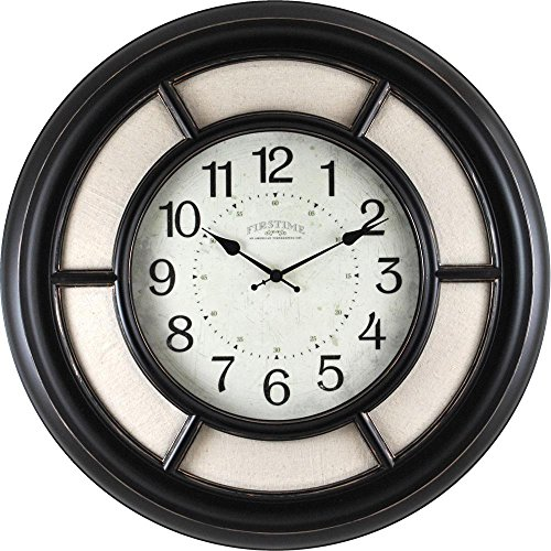 23 in. Round Baxton Linen Wall Clock by FirsTime