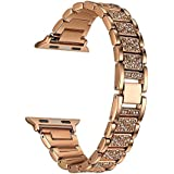 Crystal Rhinestone Diamond Watch Band Luxury Stainless Steel Bracelet Strap Watch Bands for Apple Watch series 1 series 2 series 3 (42mm Rose Gold)