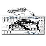 Humpback Whales Black Mini Keyboard Wired Thin Light 78 Keys USB For Pc Computer Laptop
