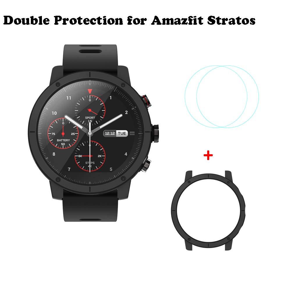 Xiaomi Huami Amazfit Stratos Smartwatch Proteccion Conjunto SIKAI 2pc Protector Pantalla Pelicula Protectora para Amazfit Pace 2 Marco Caso Cubierta ...