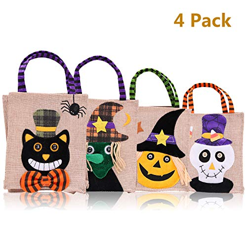Halloween Tote Bags Trick or Treat Bag Pumpkin Candy Bags for Children Gift Halloween Party Supplies Decorations 4 Cute Prints - Pumpkin Witch and Ghost(set of 4) -