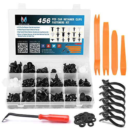 MICTUNING 18 Most Popular Sizes 456 Pcs Car Retainer Clips & Plastic Fasteners Kit with Fastener Remover Push Pin Rivets Auto Trim Door Panel Clips Assortment Set ()