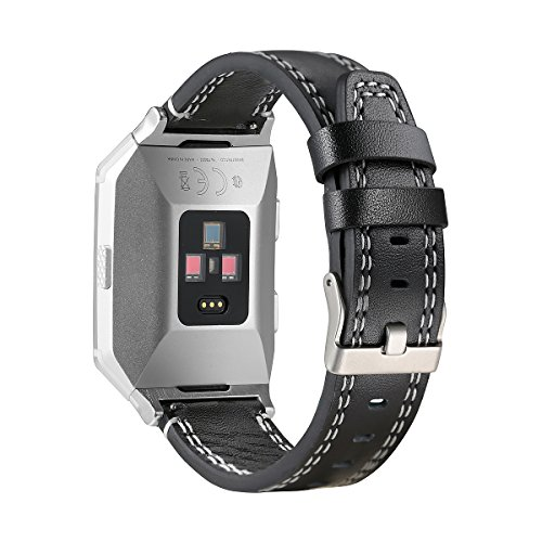 bayite Leather Bands Compatible Fitbit Ionic, Genuine Leather Replacement Accessories Straps Wristband Women Men, Black