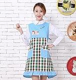 Goodscene Creative Apron Fashion Bear Printed Apron- Home Sleeveless Lattice Apron (Blue)