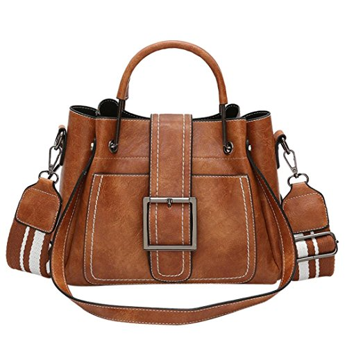 WILLTOO Retro Leather Handbag Satchel Purse Shoulder Tote Messenger Crossbody Bag for Women (Brown)