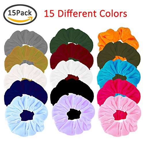 Elastic Hair Tie Hair Velvet Bands Scrunchies Scrunchy Bobbles No Damage Traceless Hair Ring Rope No Crease Ponytail Holders Stretchy Flower Donut Hair Bow Styling Accessories Colorful 15 (Pretty Halloween Makeup Simple)